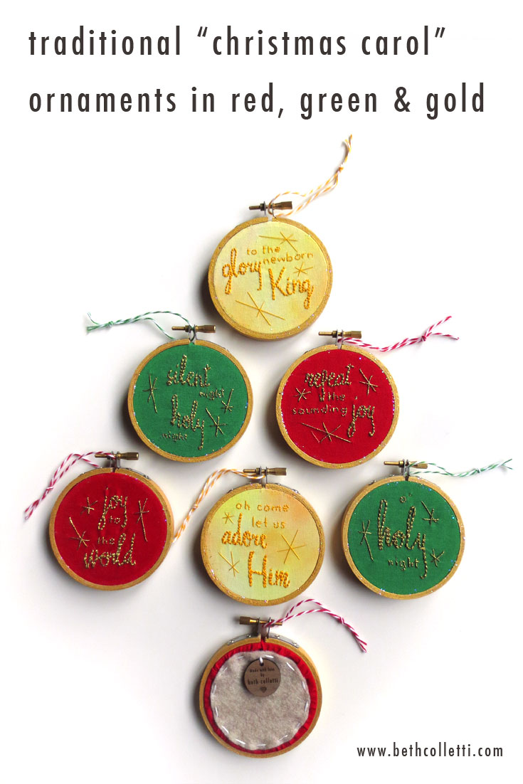 A collection of gold-embroidered ornaments based on well-loved Christmas Hymns.
