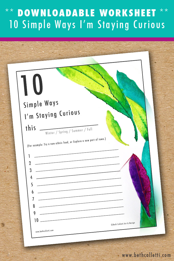 Worksheet: 10 Simple Ways I'm Staying Curious