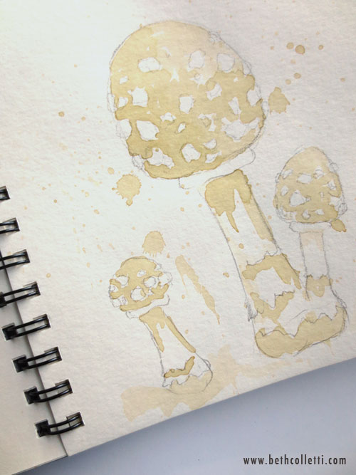 Tea-painted Mushrooms by Beth Colletti