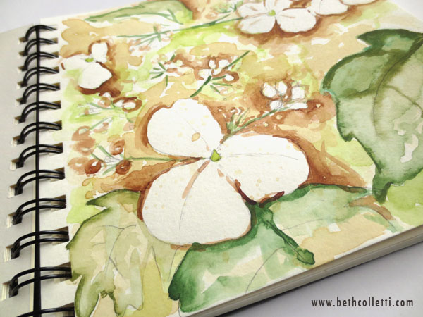 Hydrangea painted with tea and watercolors