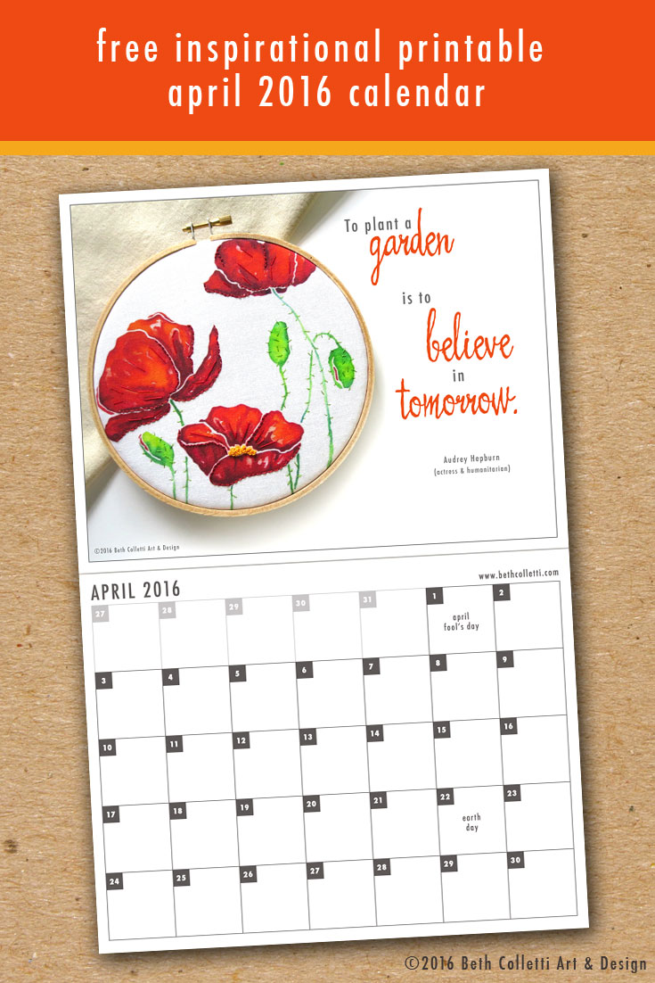 Free Inspirational Printable April 2016 Calendar