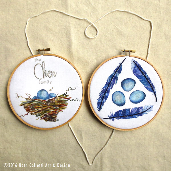 Personalize this bird nest embroidery hoop with your family name and pair it with hand embroidered blue jay feathers.