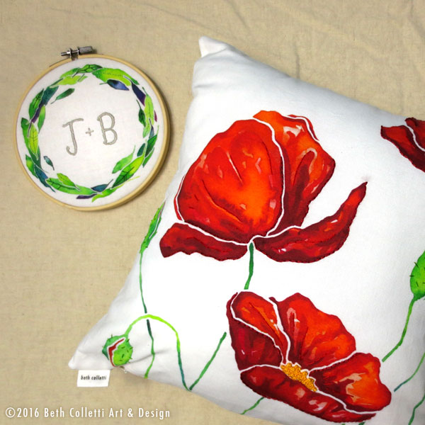 This personalized embroidery hoop and 14x14 poppy pillow cover are now available for ordering.