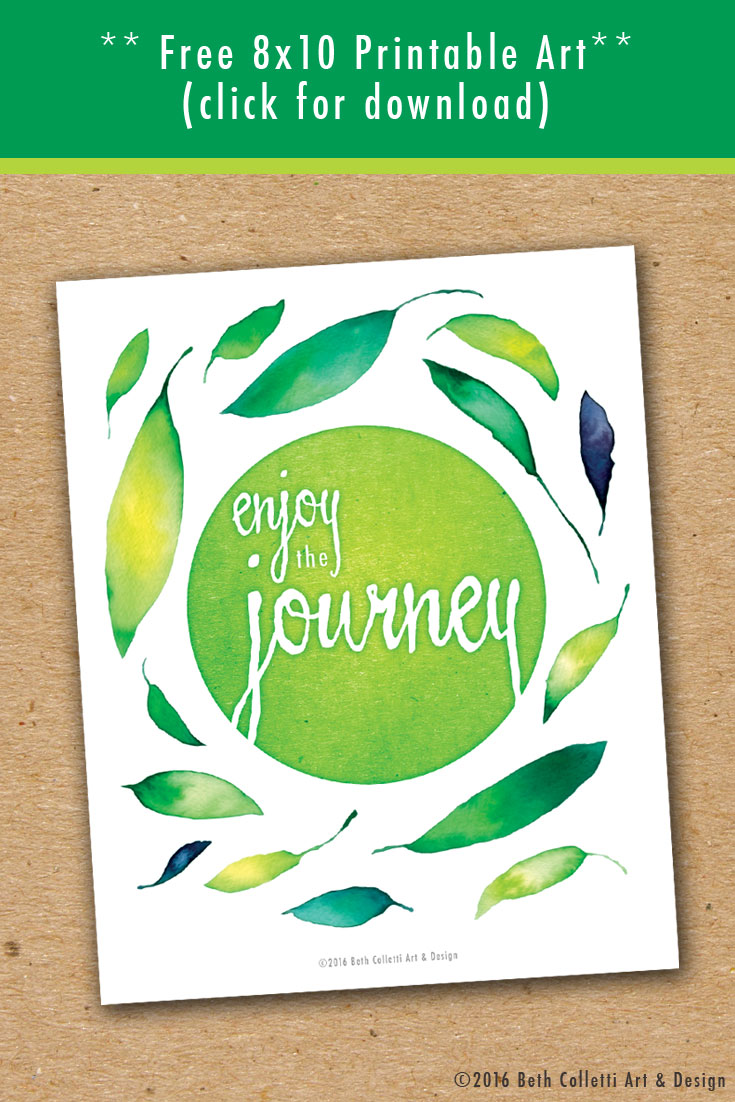 "Download this ""enjoy the journey"" printable as a reminder."