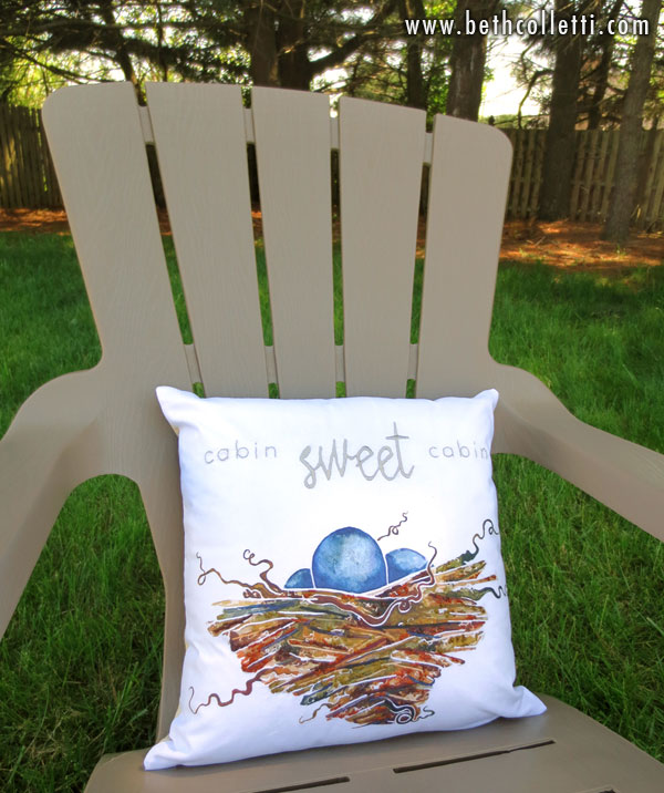 "I customized this pillow to say ""Cabin Sweet Cabin"" for a client in the Northwest."