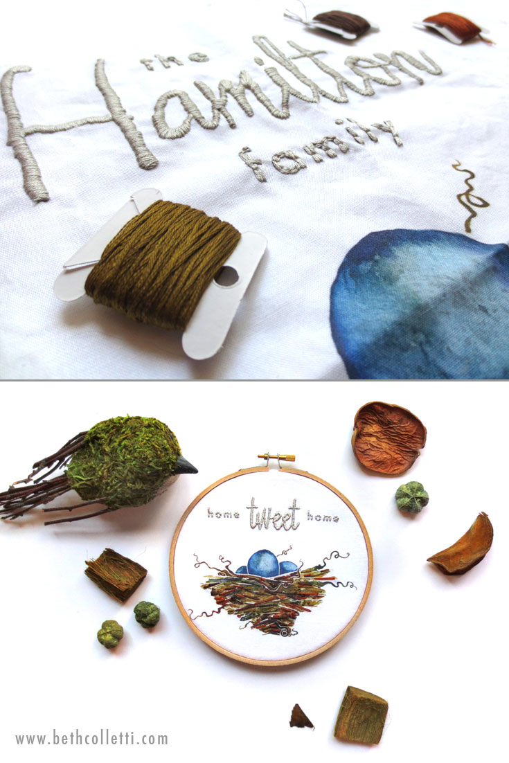 "Customize an embroidery hoop to say ""Home Tweet Home"" for a bird lover, or add your family name to a pillow or hoop."