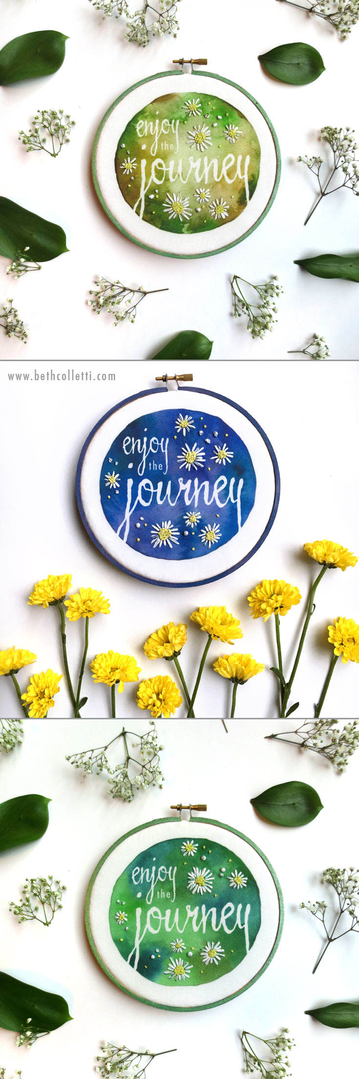 These Enjoy the Journey hoops are available in several different colors in  my shop .