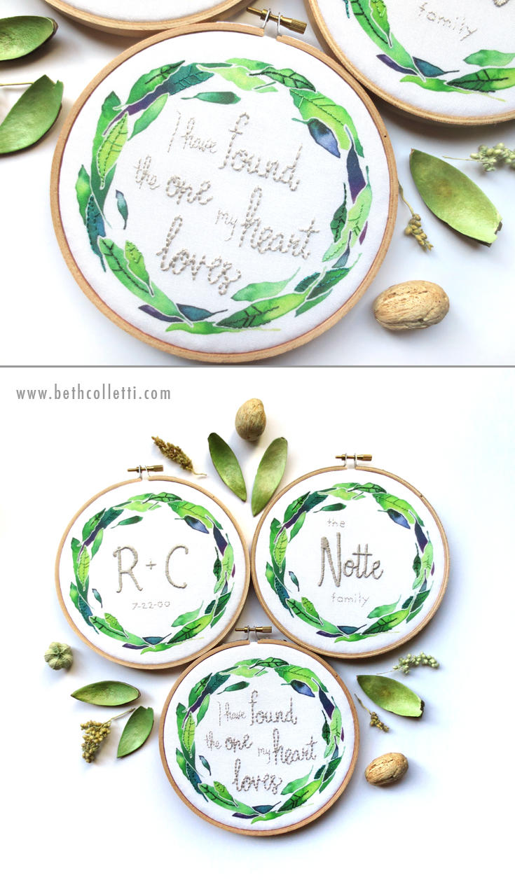 Wedding and Anniversary Embroidery by Beth Colletti Art