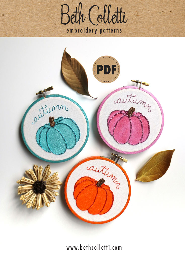 Beth Colletti Heirloom Pumpkin Embroidery Pattern