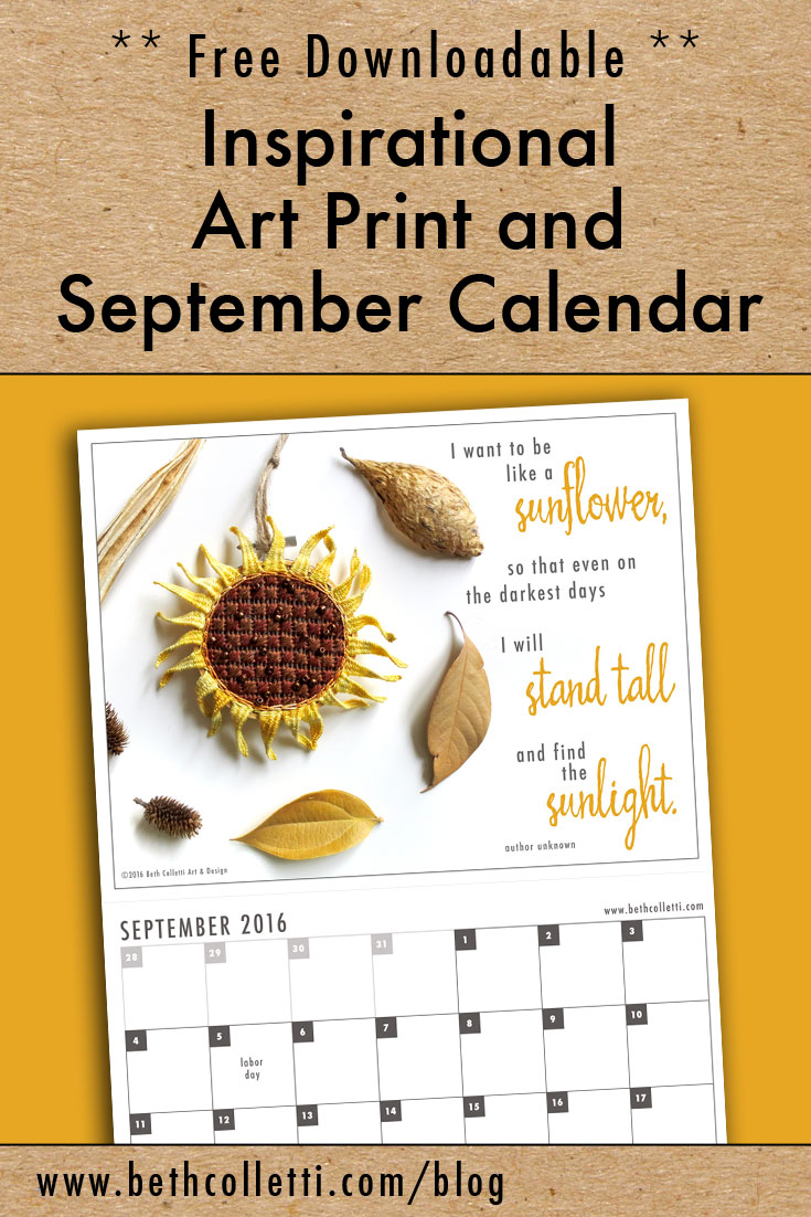Free Inspirational Art Print and September 2016 Calendar
