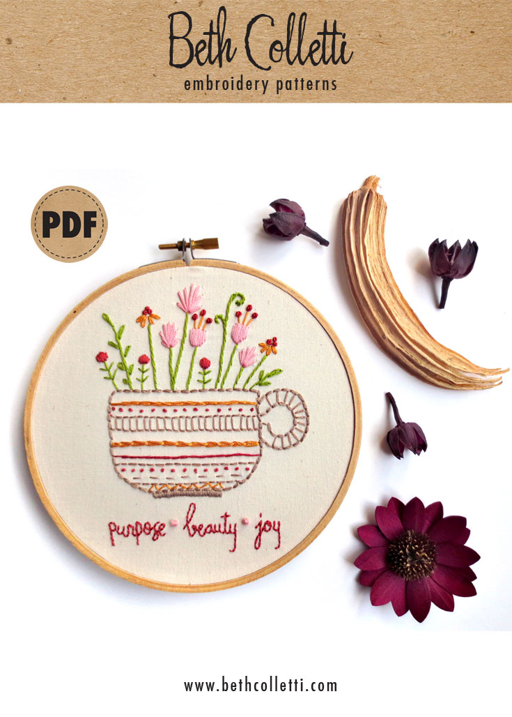 Carve Out Some Creative Self-Care Time with this Free 'Herbal Tea' Embroidery Pattern!