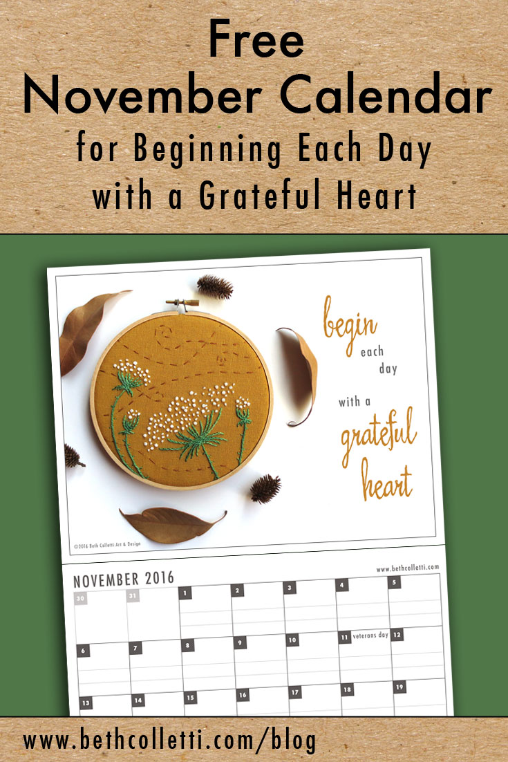 Free November Calendar for Beginning Each Day with a Grateful Heart