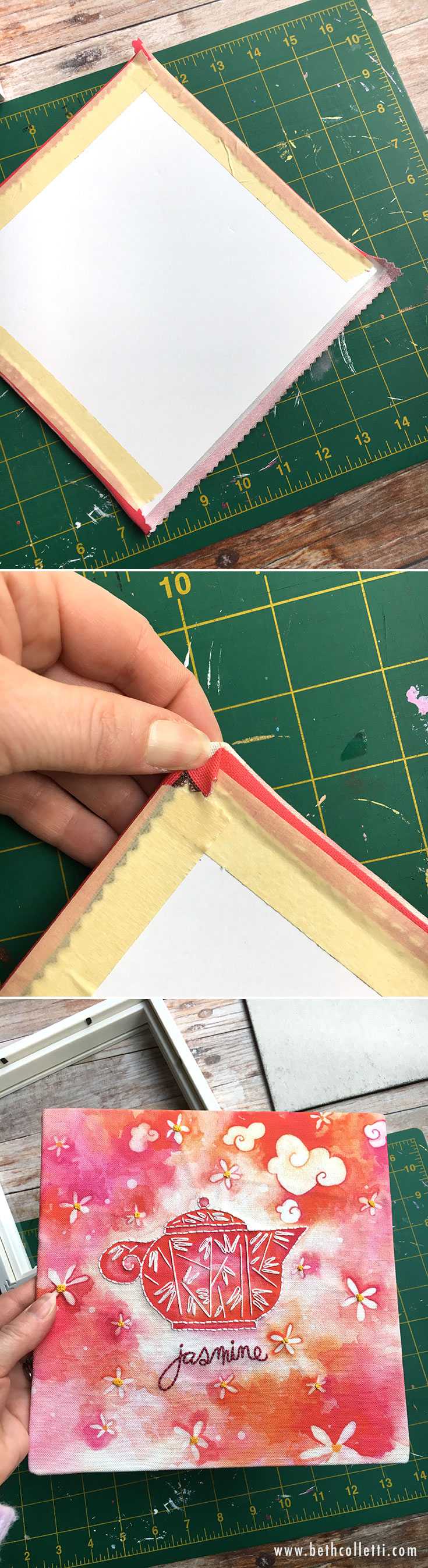 Use masking tape to secure the edges of your embroidery art on the back of the mounting board.