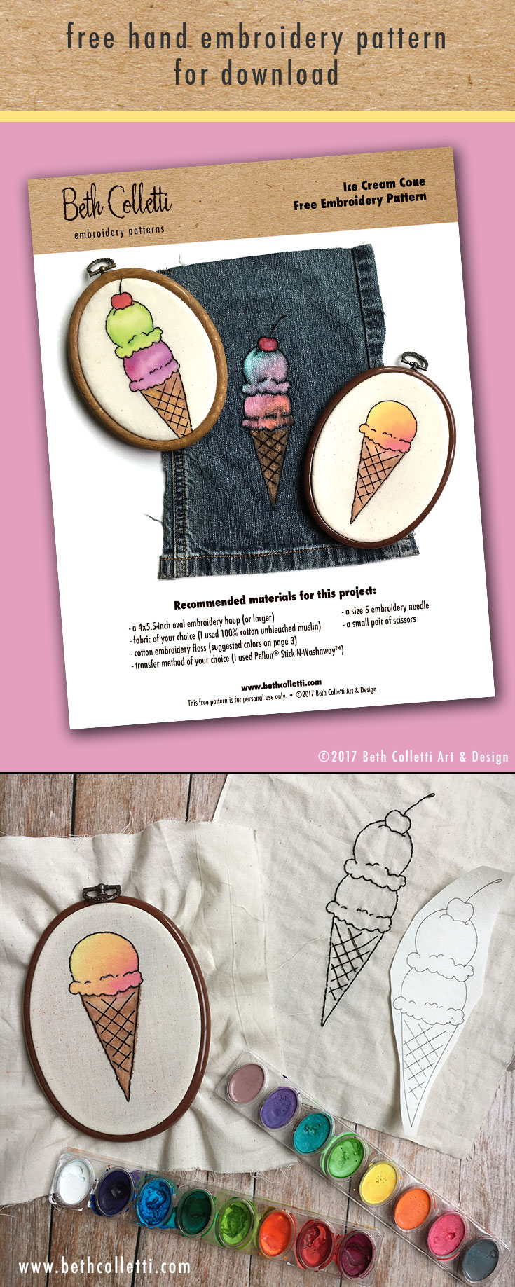 Free Downloadable Ice Cream Cone Embroidery Pattern + 4 Different Ways to Use It