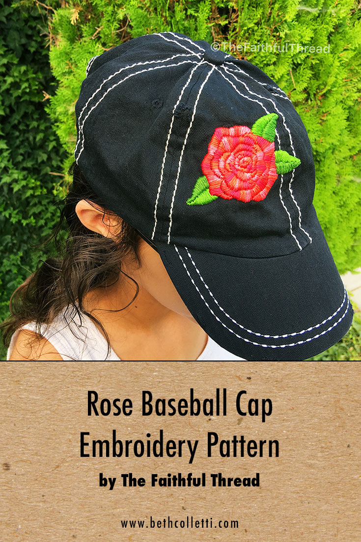 Rose Baseball Cap Embroidery Pattern