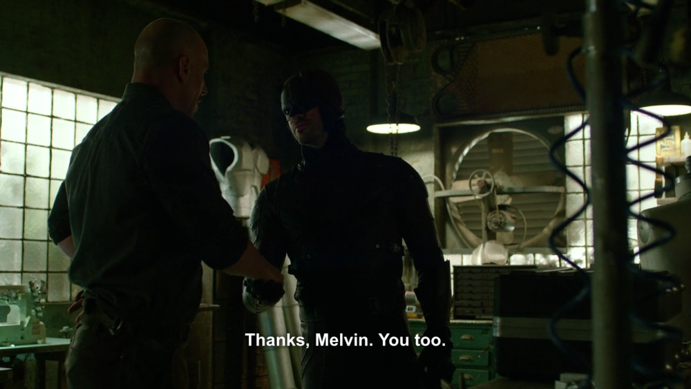 Daredevil & his armorer, Melvin Potter (no relation to a certain boy wizard), among the interesting and secondary characters and relationships in this series.