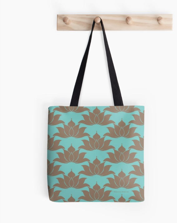 Lucky Lotus Pale Green Cyan TOTE.jpg
