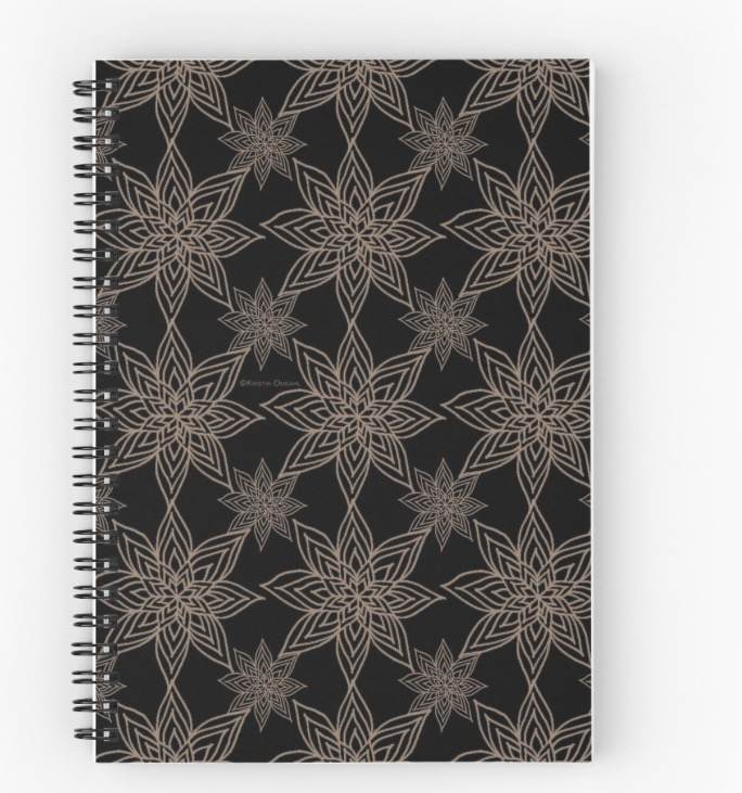 Poinsettia Black Gold Spiral notebook.jpg