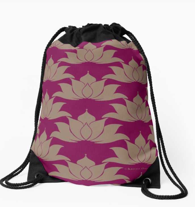 Lucky Lotus Dark Magenta Gold Drawstring Bag.jpg