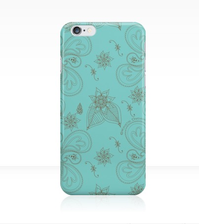 Paisleys phone case pale cyan green.jpg