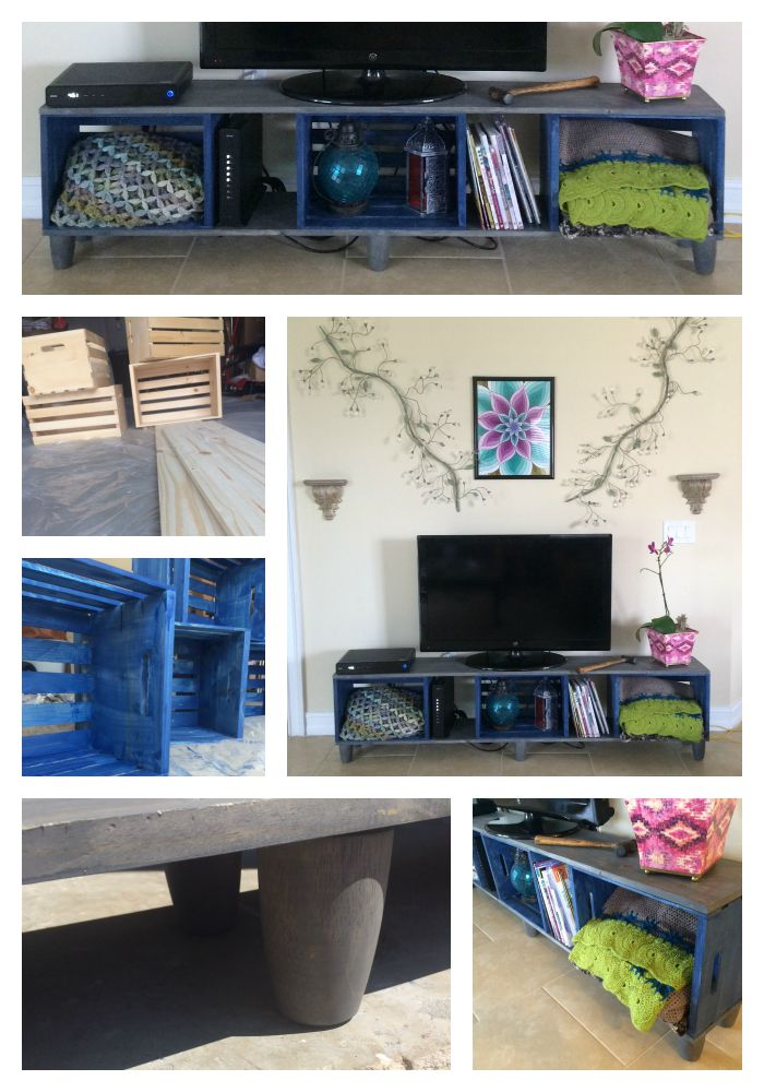 how i made a tv stand with wooden crates diy kristin omdahl. Black Bedroom Furniture Sets. Home Design Ideas