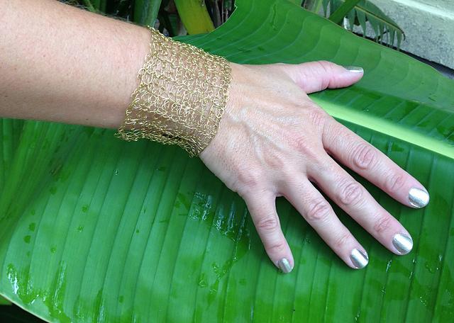 Tunisian Double Crochet Wire Cuff Bracelet Free Pattern Kristin Omdahl