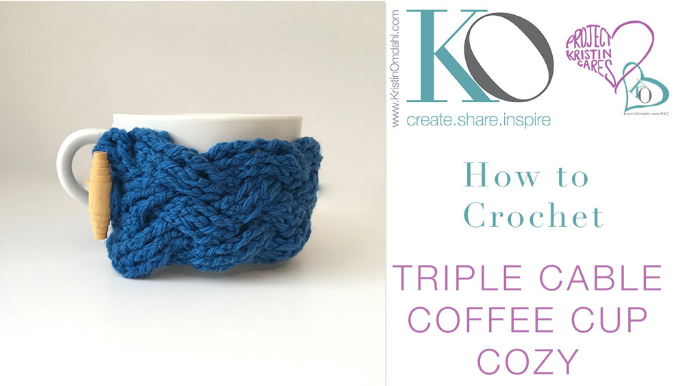 Triple Cable Crochet Coffee Mug Cozy Free Pattern Kristin Omdahl