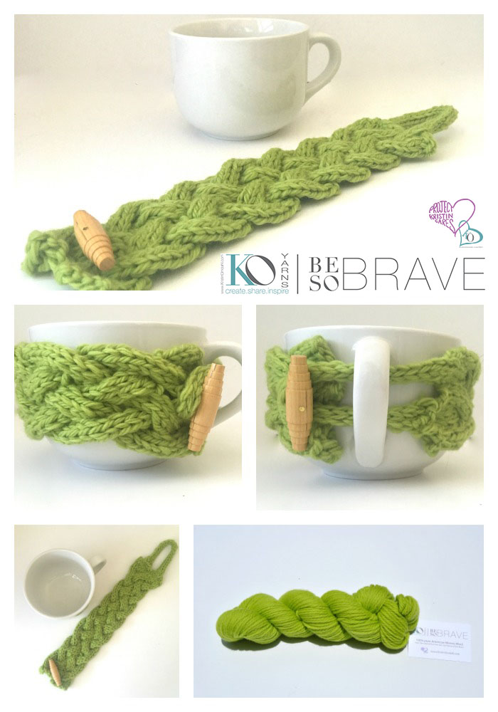 Be So Brave Triple Cable Coffee Cozy Free Knit Pattern Kristin Omdahl