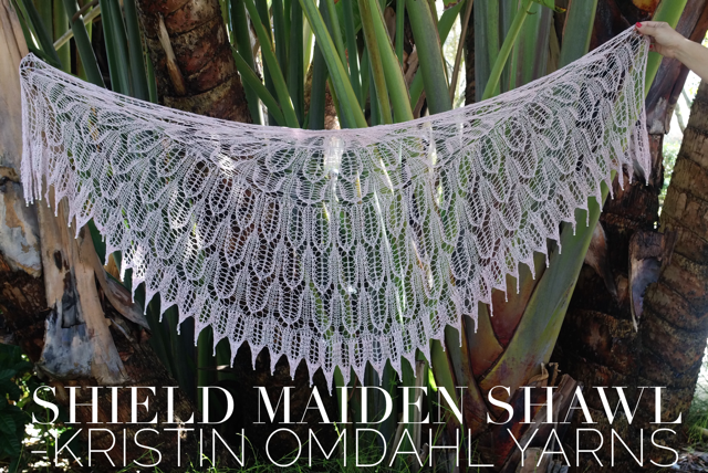 Click here for Be So Fine Yarn Shield Maiden Knit Lace Shawl FREE Pattern