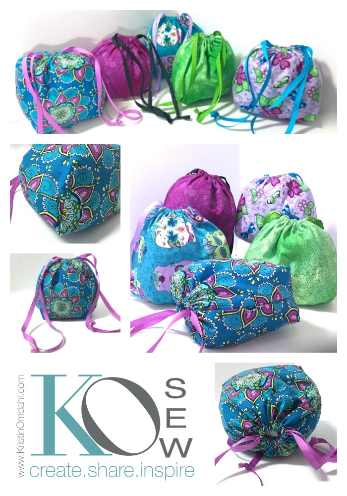 How to Sew a Super Easy Drawstring Bag with Flat Bottom FREE ...