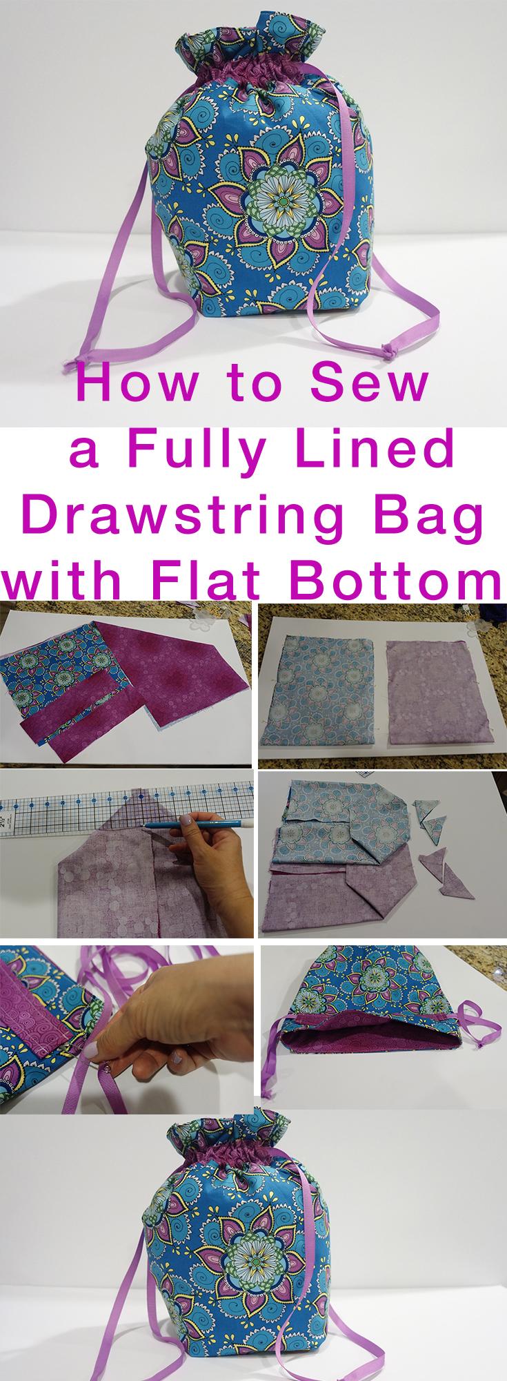 How to Sew Fully Lined, Flat Bottomed, Drawstring Bag FREE Pattern ...