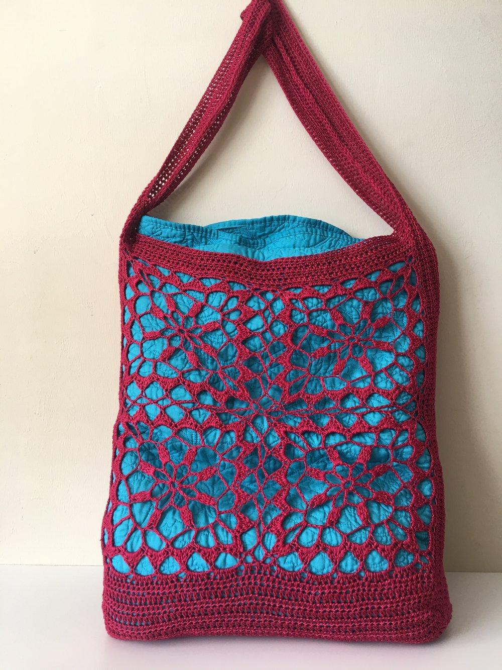 Million Dollar Red Be So Sporty Yarn Crochet Tote Bag FREE Pattern ...