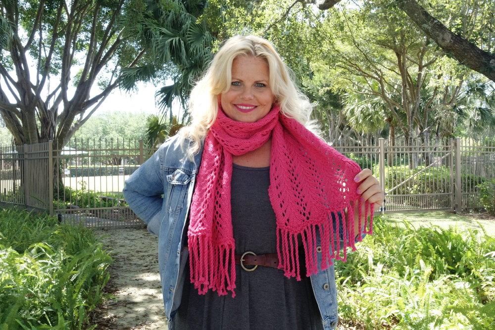 Bonita Brave Knit Lace Scarf With Fringe Free Knitting Pattern