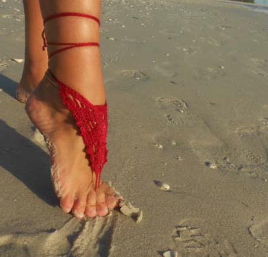 Fine Million Dollar Red Barefoot Sandals Free Crochet Pattern