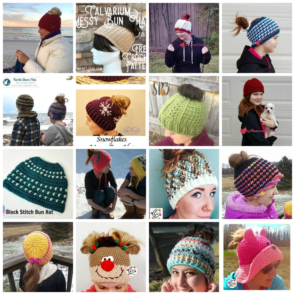 Messy Bun Hat Knit   Crochet Pattern Round Up — Kristin Omdahl 5d5bfe9408b