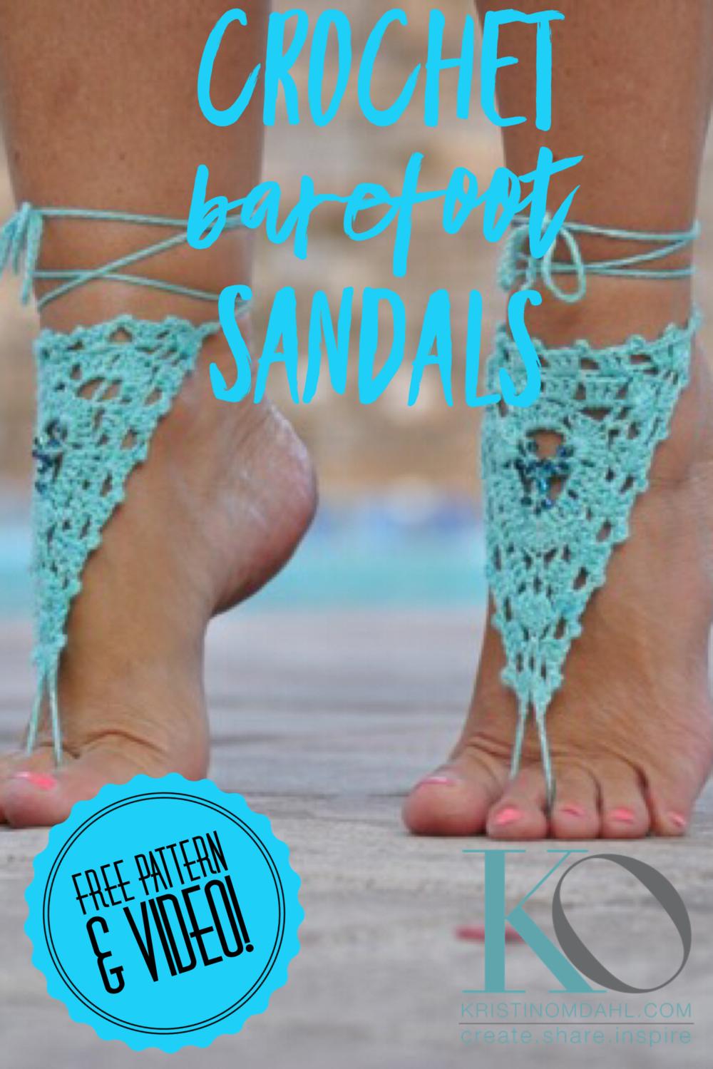 Fine Turquoise Beaded Barefoot Sandals FREE Crochet Pattern ...