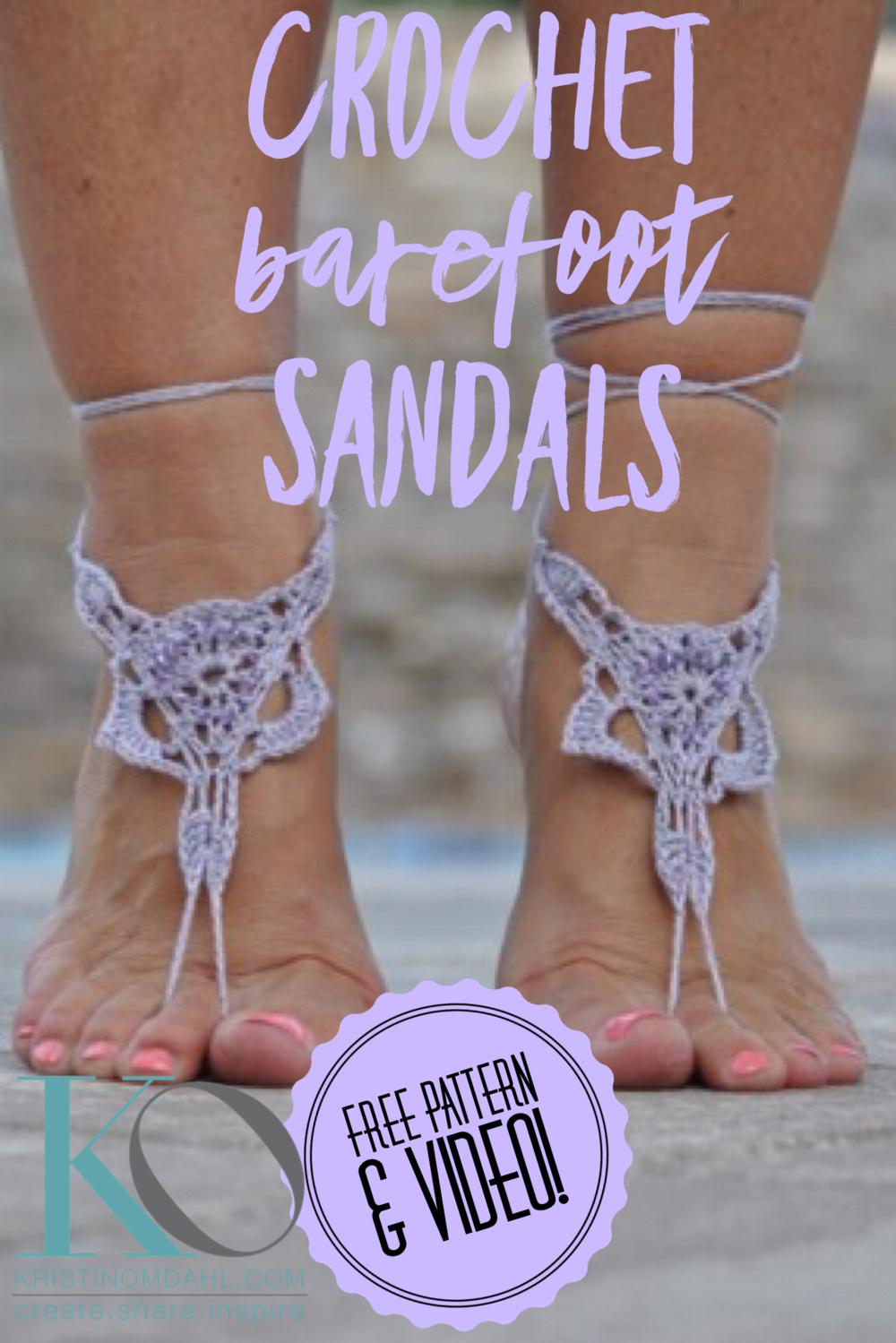 Fine Lavender Beaded Barefoot Sandals Free Crochet Pattern Kristin
