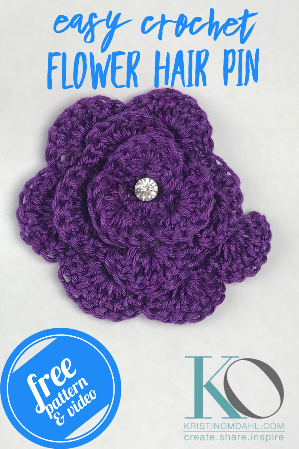 How To Crochet Flower Hair Pin Step By Step For Beginners Free