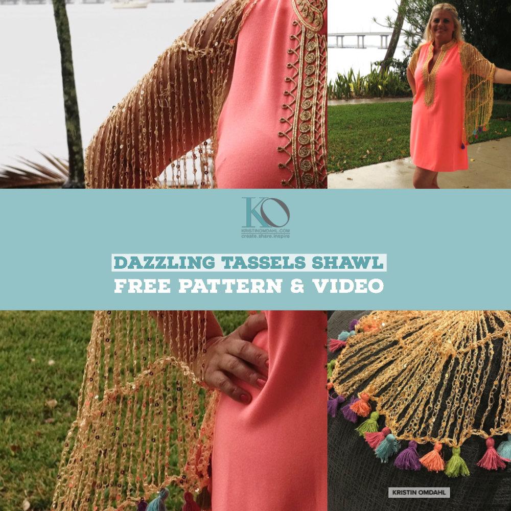 Dazzling Tassels Easy Beginner Crochet Shawl with Tassel Fringe ...