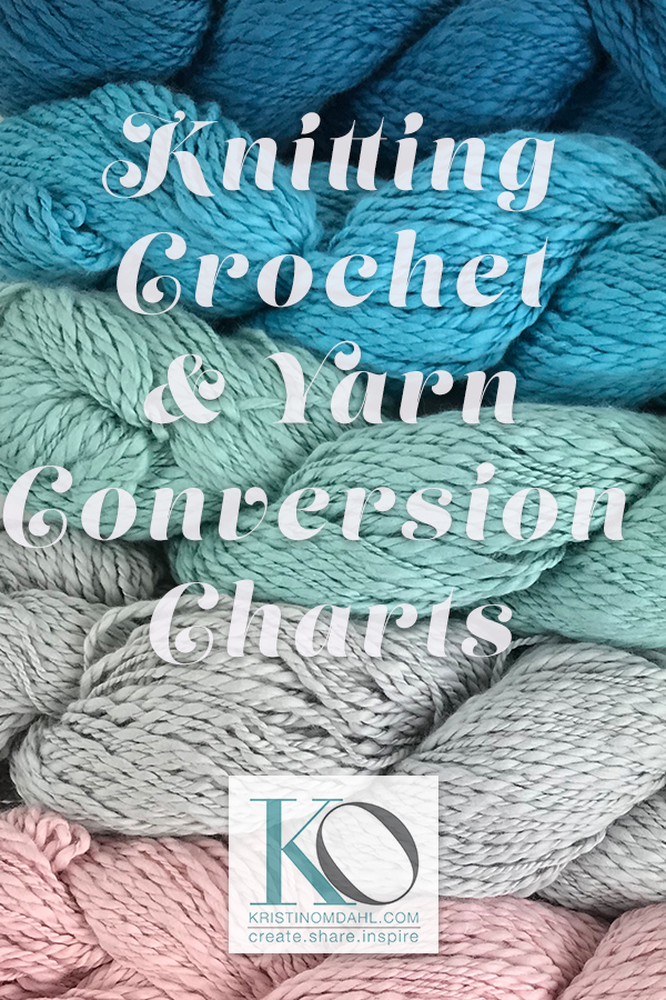 Yarn Weight Knitting Needle And Crochet Hook Conversion Charts For