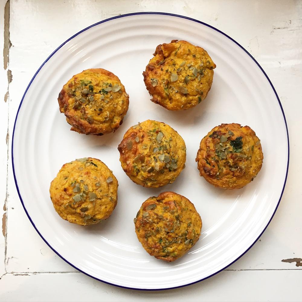Pumpkin, Spinach & Cheese Spelt Muffins