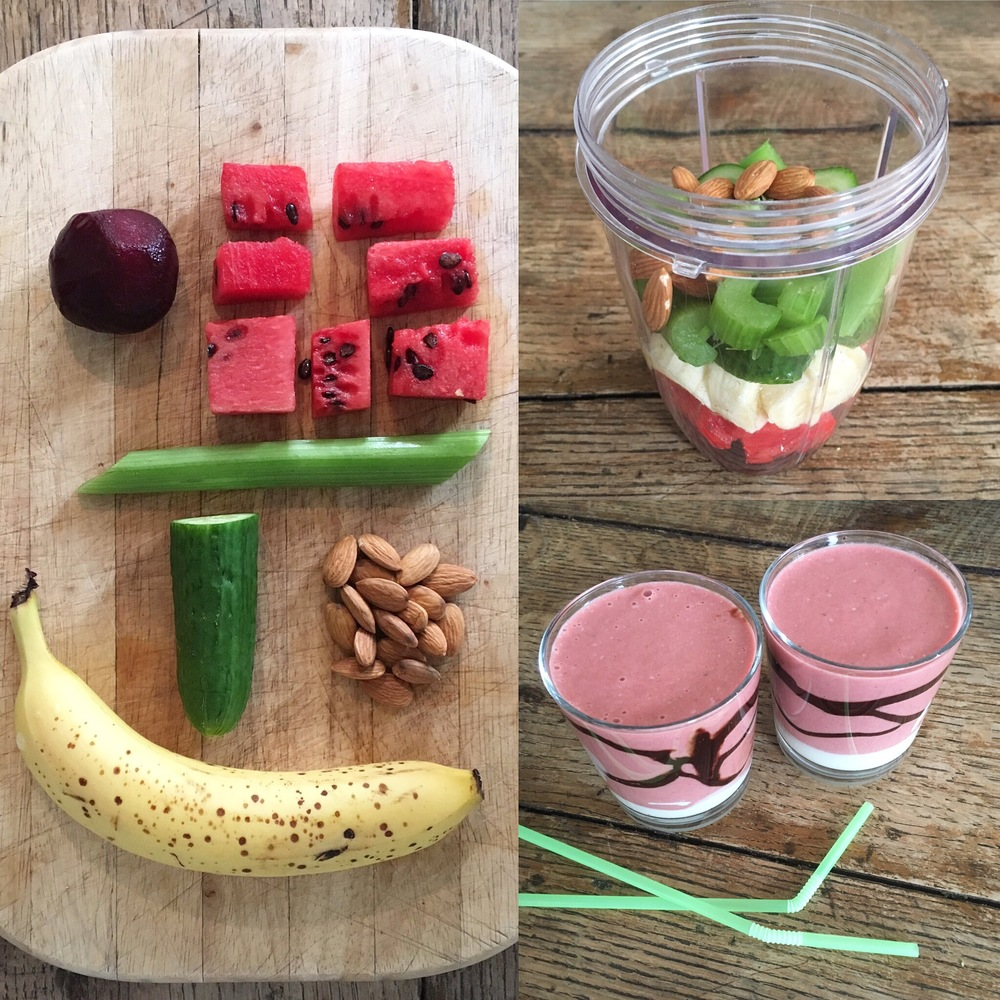 Veg, nuts, yoghurt & fruit smoothie