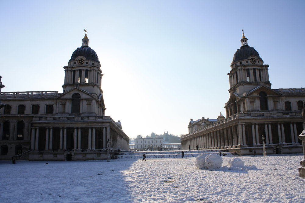 Old Royal Naval College snowy grand square (c) Old Royal Naval College.jpg