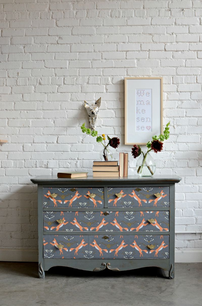 Fox Wallpaper by Holli Zollinger . Dresser by Barb Blair - Knack Studio