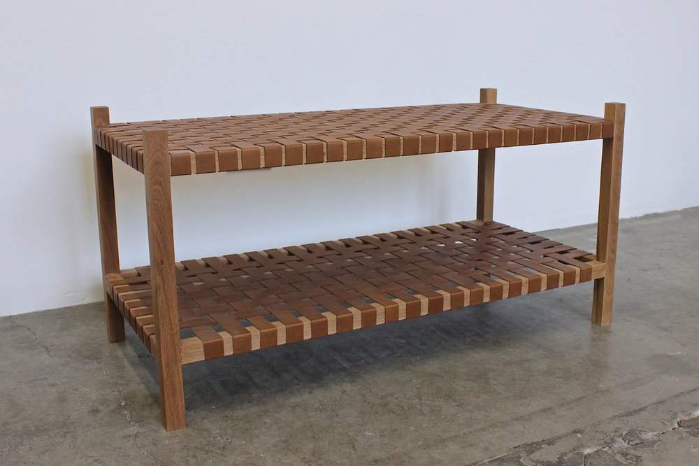 Leather Weave Double Bench