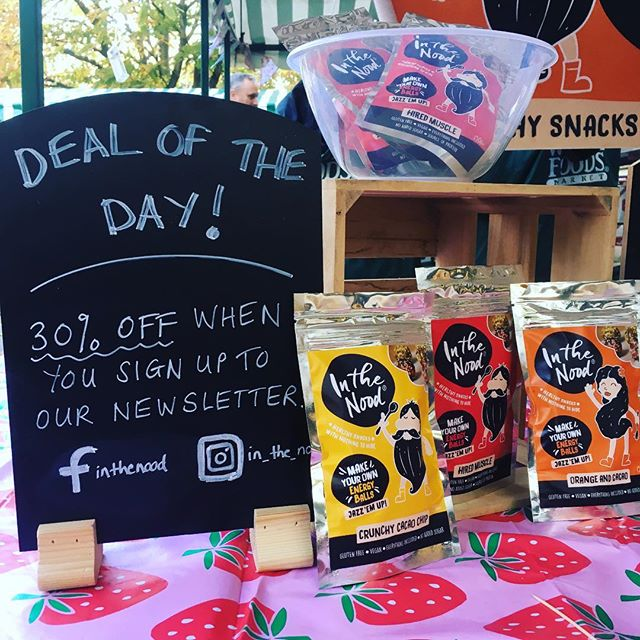 Come to our stall at the Cheltenham Markets. 👊  30% off at the stall if you sign up to our newsletter 😜  #cheltenham #market #newsletter #signup #energyballs #vegan #glutenfree #healthysnack #healthysnacking #healthy
