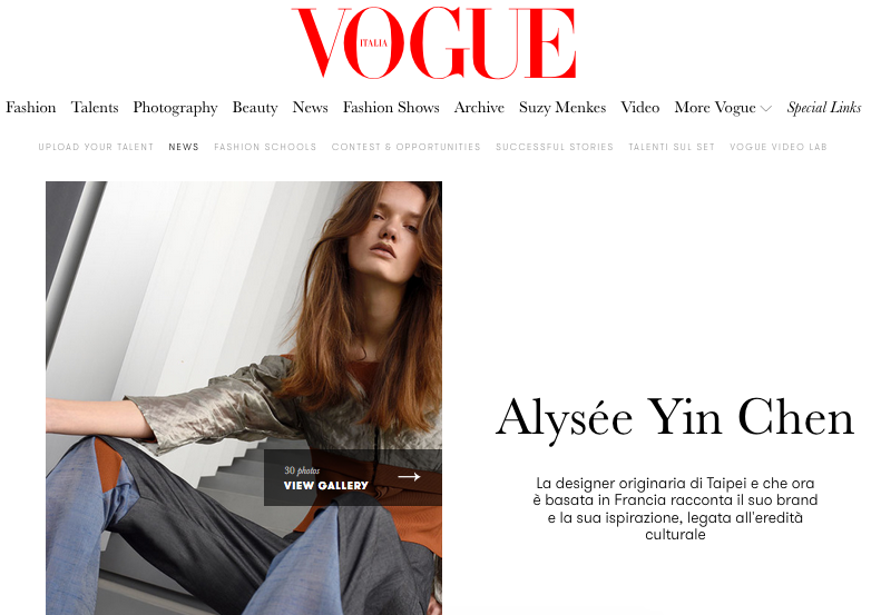 Vogue Italia http://www.vogue.it/en/vogue-talents/news/2017/02/07/alysee-yin-chen-taiwan-taipei-paris-france/