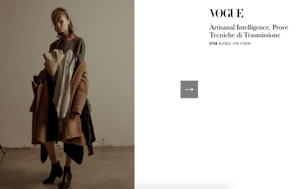 Vogue Italia    http://www.vogue.it/vogue-talents/news/2017/07/12/artisanal-intelligence-altaroma-prove-tecniche-di-trasmissione/
