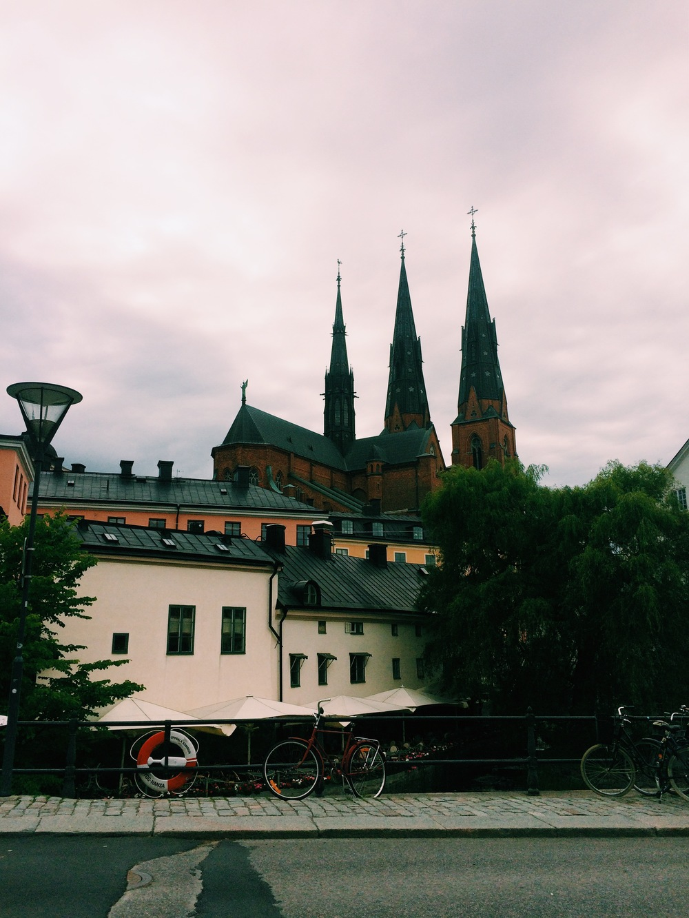 Uppsala's Domkyrka Cathedral and the Fyris River as seen from Östra Ågatan
