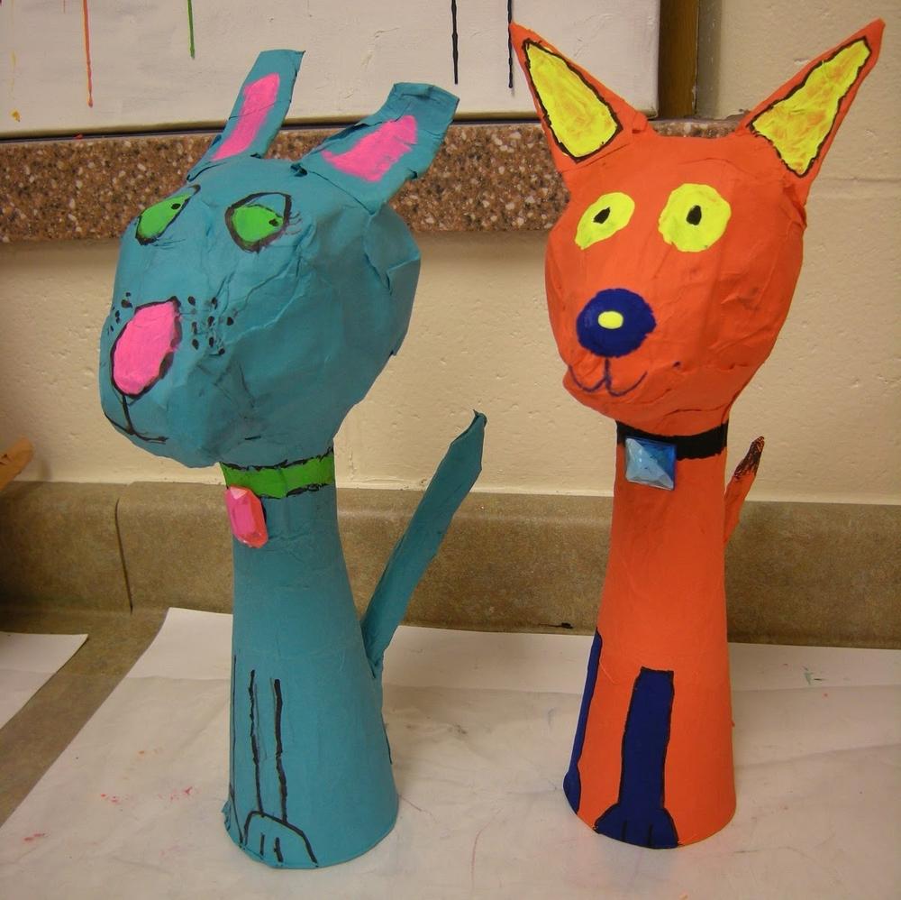 3D paper mache pets.JPG